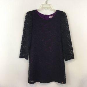 Juicy Couture Girl's Lace Shift Dress Purple Black